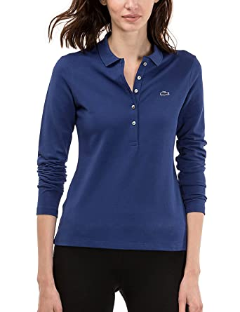 Lacoste Womens Womens Blue Slim Fit Long Sleeve Polo In Size 40 ...