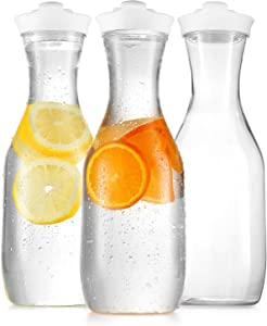 Plastic Carafe Water Pitcher - Carafes for Mimosa Bar - Clear Juice Containers with Flip Top lids - Narrow Neck Easy Grip Wide Mouth - Party juice carafe – Food Safe – Dishwasher Safe (3 Pack 50 Oz)