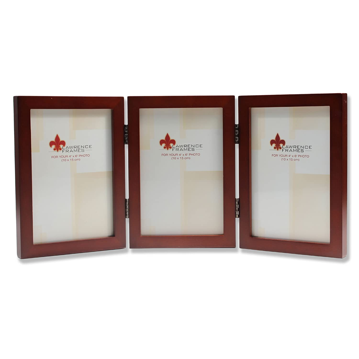 Lawrence Frames 755646T Lawrence Frames 4x6 Hinged Triple Walnut Wood Picture Frame - Gallery Collection