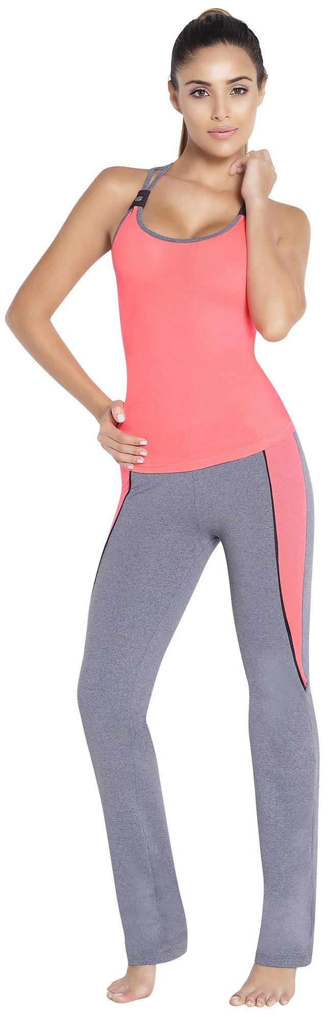 Adriana Arango Women's Gym Outfit Racerback 2 Piece Set Blouse Pants D221 (M) by Adriana Arango