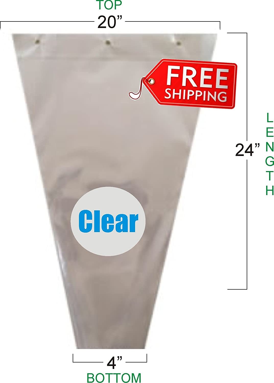 Flower Bouquet Unprinted 37 Micron Clear Cellophane Bags Plastic Sleeve Bag 50 Pcs 20x24x4 GreenhouseGrowerStore.com