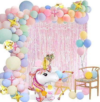Amazon.com: Paquete de 140 globos de unicornio con arco iris ...