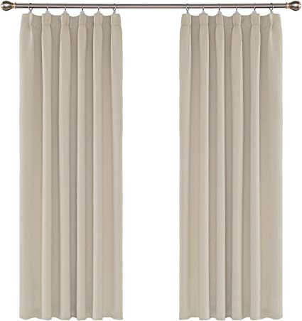 Umi. by Amazon - 2 Stück Verdunklungsvorhang Blickdicht Gardine Kräuselband  Vorhänge 175x140 cm Beige