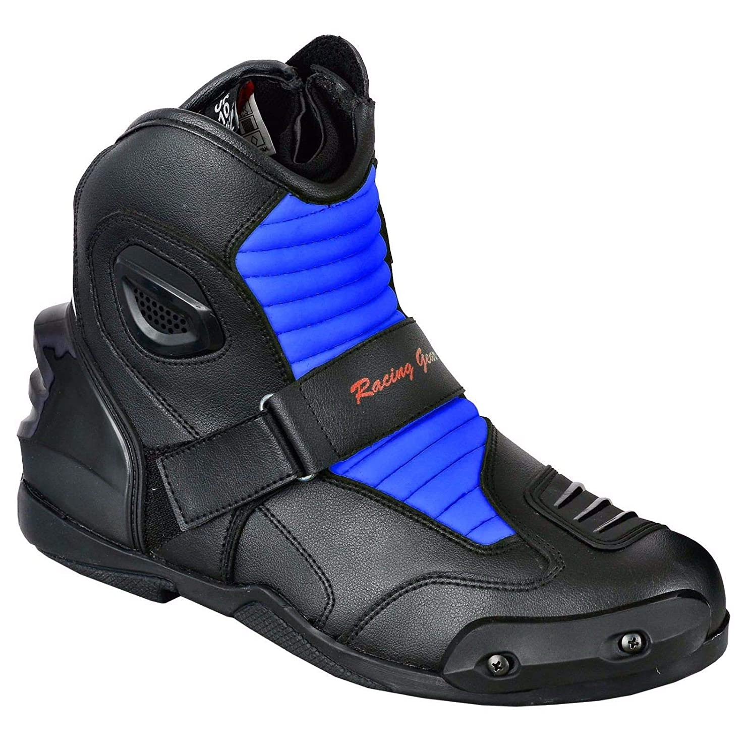 Size UK 11 Blue VASTER Motorbike Boots Motorcycle Shoes Biker Racing Stylist Short Ankle Boot Motorcycle Track Touring Shoes Waterproof Armoured for Mens Boys Rider