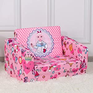 Kid Sofa Chair, Children 2 in 1 Flip Open Foam Sofa Bed for Kid Nap and Play (Pink)