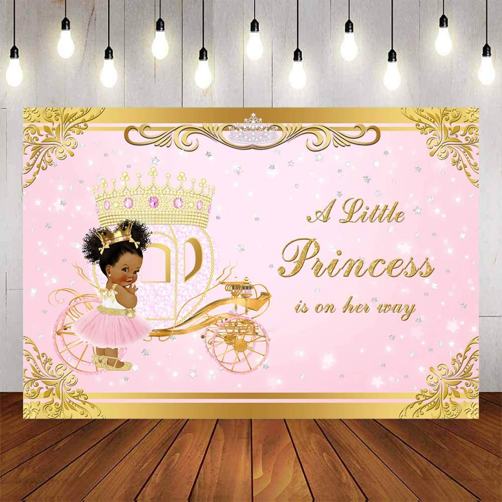 Avezano Little Princess Backdrop Pink Girls Baby Shower Background Gold Glitter Baby Shower Party Decoration Supplies Princess Carriage Decor