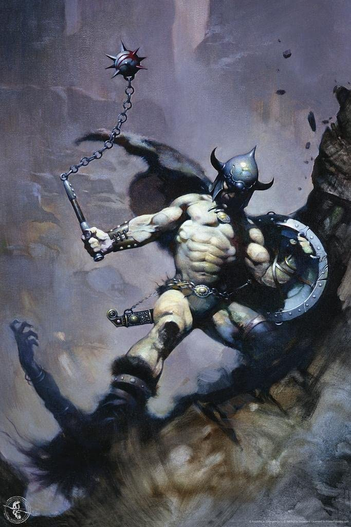 Warrior with Ball and Chain by Frank Frazetta Art Cool Wall Decor Art Print Poster 24x36