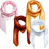 4 Pcs Hair Scarf Silk Like Scarves for Women Large Square Stain Neck Head Scarf Set 35×35 inches