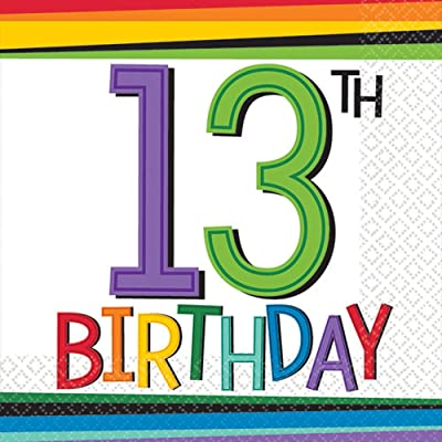 amscan 5018360 Rainbow 13th Birthday Beverage Napkins, Multi Color: Toys & Games