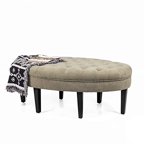 Miraculous Amazon Com Adeco Of0034 2 Oval Bench Round Tufted Gmtry Best Dining Table And Chair Ideas Images Gmtryco