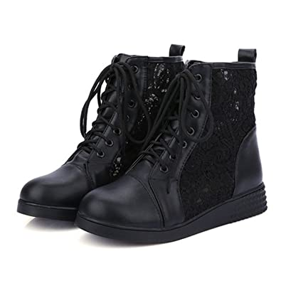 fb1fa4dba7030 Baqijian High Summer Spring Cut-Outs Woman Flat Ankle Boots Lace-Up Women  Flats
