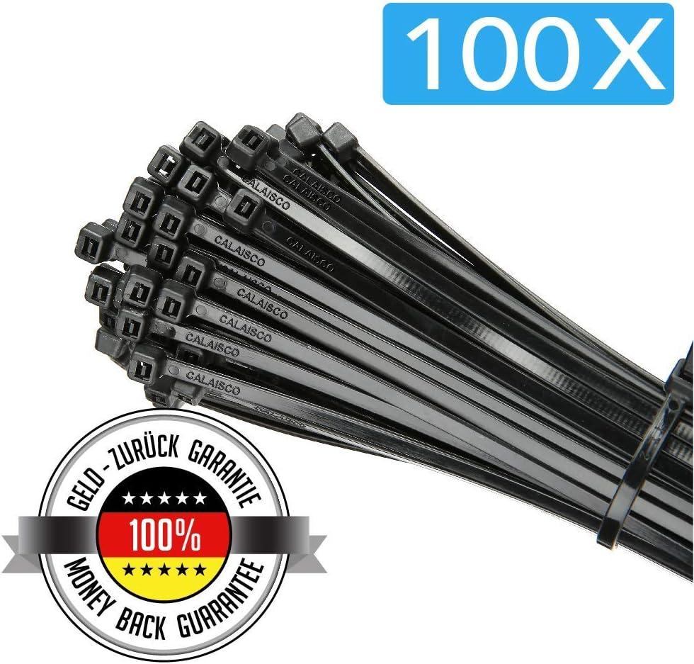 Calaisco Electronics | Paquete de Bridas de Nylon | Set de 100 Organizadores de Cables de alta calidad y resistencia 300 x 4,8 MM | Color: Negro | Resistente a calor y Rayos UV