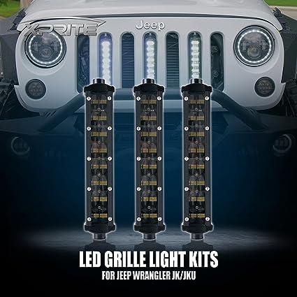 Xprite Ak Series 8 Vertical Grille Philips Led Light Bar Kit For 2007 2018 Jeep Wrangler Jk Jku 3 Lights