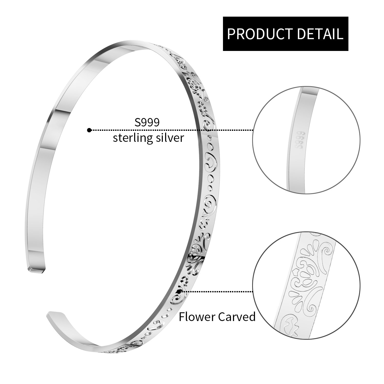UHIBROS S999 Sterling Silver Flower Carved Bangle Adjustable Fine Vintage Cuff Bracelet for Women Girls