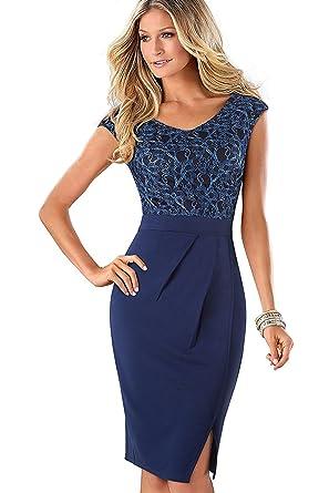 online retailer 65008 7798c Misshow Etuikleid Damen Knielang Bleistiftkleid Business Kleider Damen