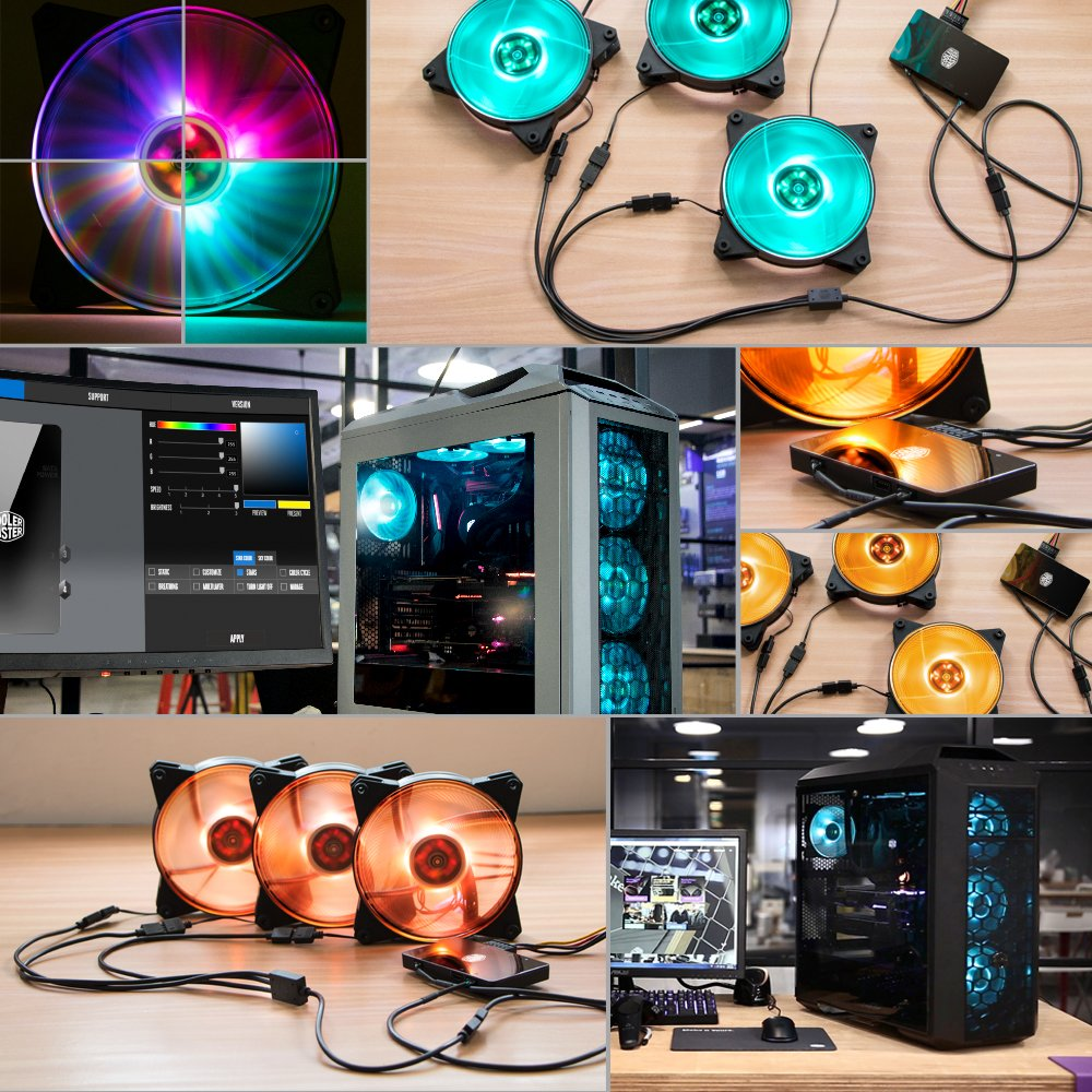 Cooler Master MFY-P2DC-153PC-R1 MasterFan Pro 120 Air Pressure RGB- 120mm Static Pressure RGB Case Fan, 3 in 1 with RGB LED Controller, Computer Cases CPU Coolers and Radiators by Cooler Master (Image #2)