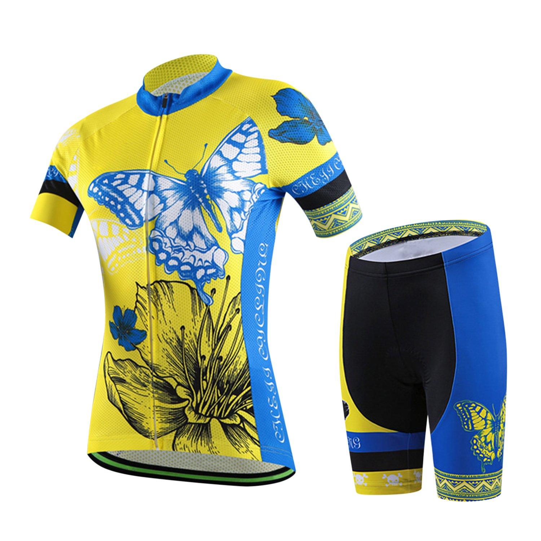 Libertepe Damen Trikot Set Sportanzug Kurzarm Zip Blumenmuster Chinesisch Aufdruck Slim Fit Kurz Hülse Top Hemd Skinny Short Pants Outdoor Fahrrad Rennen