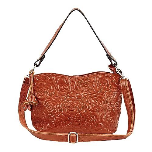 58c9447d6 JIANBAO Womens Rose Embossed Leather Shoulder Bags Ladies Cross Purses  Zipper Handbags Satchel (brown)