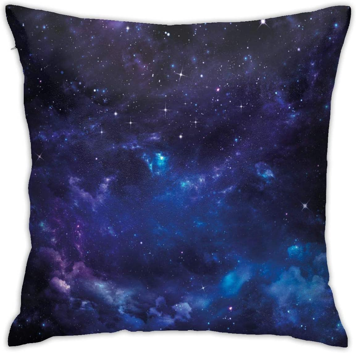 Judascepeda Home Pillowcase Sky Space Night Time Universe Stars and Nebulas Distant Parts of Galaxy Purple Charcoal Grey and Blue Decor Throw Pillow Cushion Cover with 18 X 18 Inches