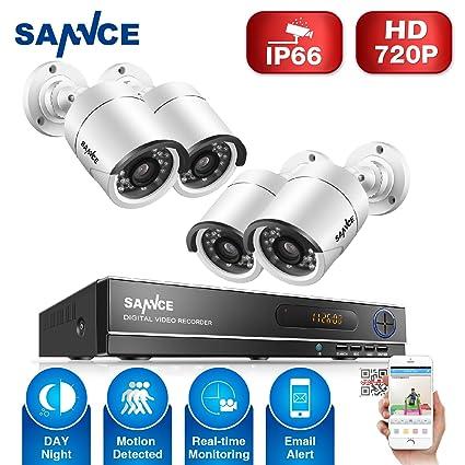 [1280*720P HD] SANNCE® Kit de 4 Cámaras de Vigilancia Seguridad (