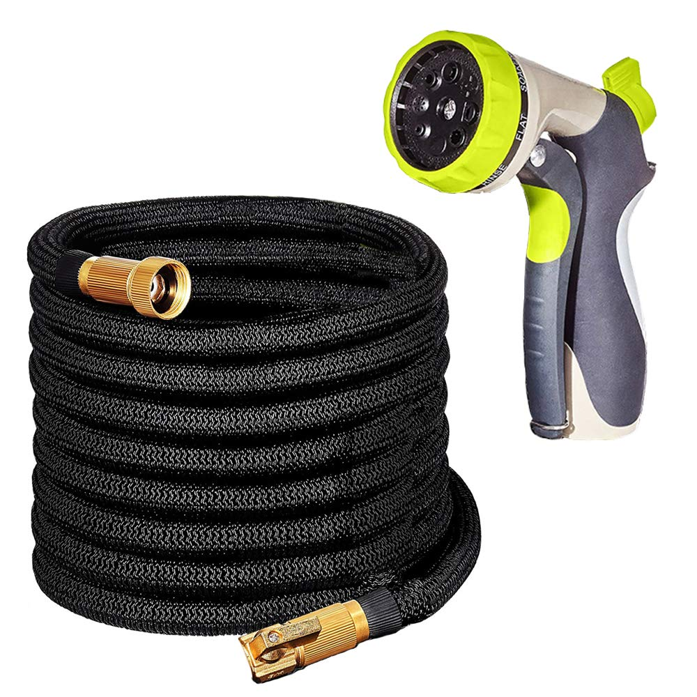 DONYER POWER 50FT Garden Hose with Brass Connectors Expandable Water Hose Flexible Double Latex Core, 8 Pattern Alloy Spray with Storage Bag