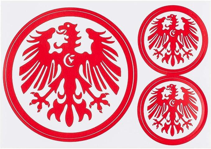 Eintracht Frankfurt 3er Set Aufkleber Sticker Autoaufkleber Logo Rot Plus Gratis Aufkleber Forever Frankfurt Sport Freizeit