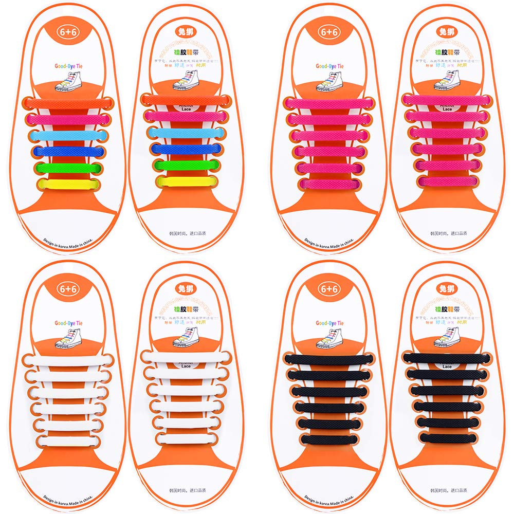 Fashion No Tie Shoe Laces For Kids//Adults Silicone Rubber Tieless Elastic Slip