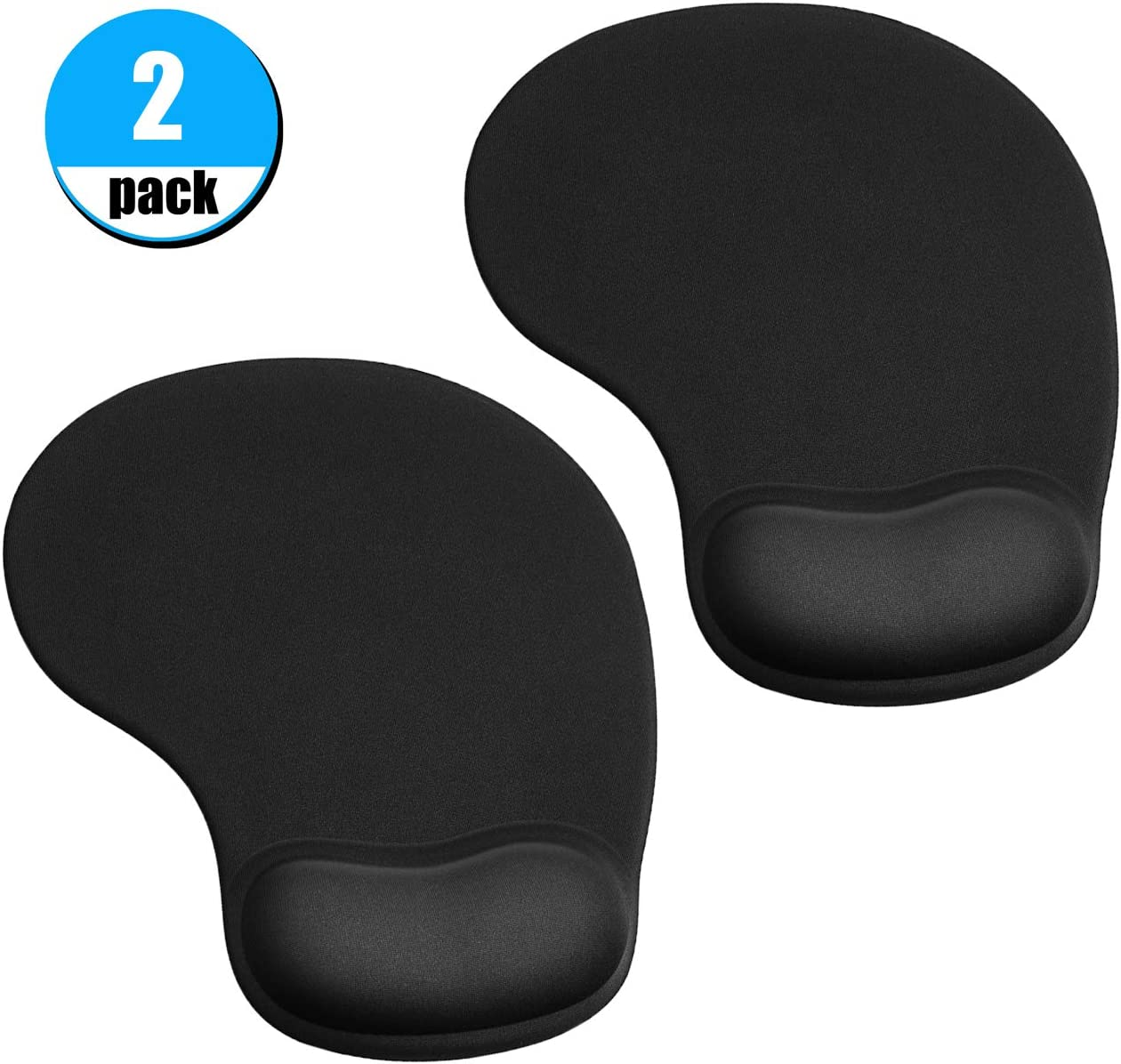 JIKIOU 2 Pack Mouse Pad, Ergonomic Mouse Pad with Gel Wrist Rest Support, Comfortable Wrist Rest Mouse Pad with Non-Slip PU Base for Computer Laptop Home Office Travel, Small Size, 9 x 7.5 inch, Black
