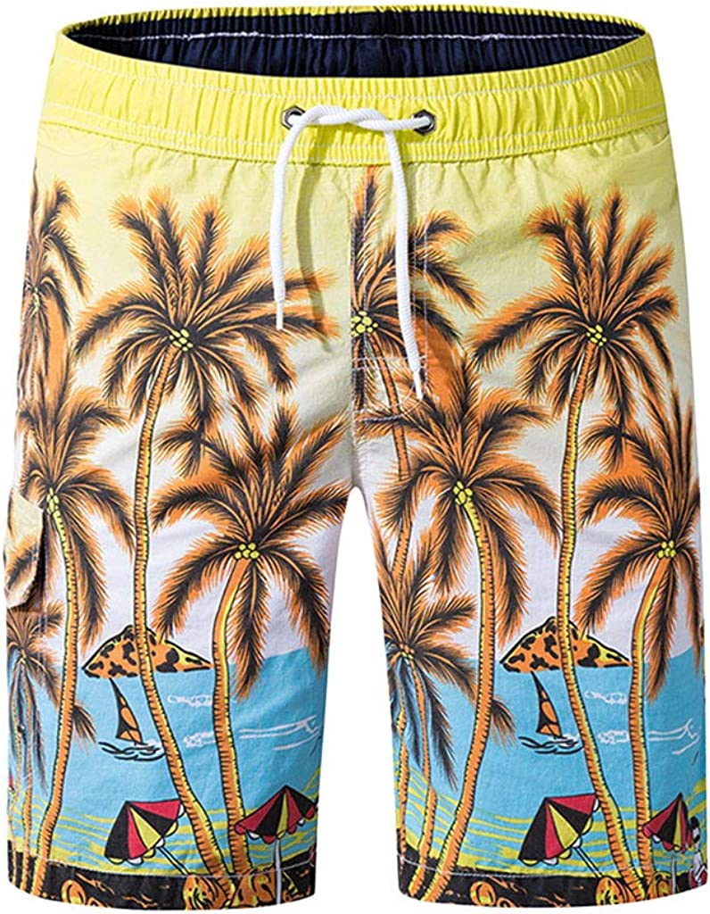 ESAILQ-Pantalones de ba/ño para Hombre de Playa Pantalones Anchos Vacaciones en la Playa C/ómoda Cintura El/ástica Cortos de Verano para Hombres Pantalones