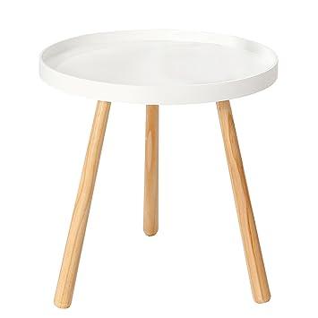 Design Retro Beistelltisch SCANDINAVIA Mit Weisser Tischplatte Rund 40 Cm Holztisch Wohnzimmertisch Tischchen Massivholz
