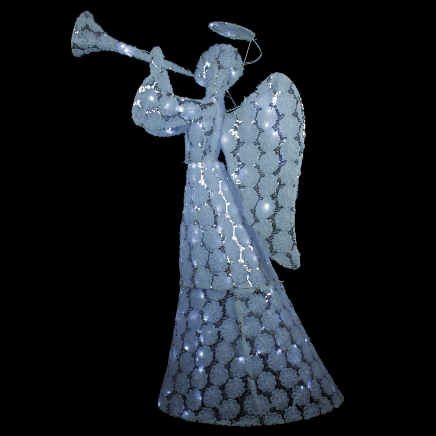 By LBInternational 56'' Floral Printed Angel with Sequins Holding Trumpet LED Lighted Christmas Yard Art Decoration by By LBInternational