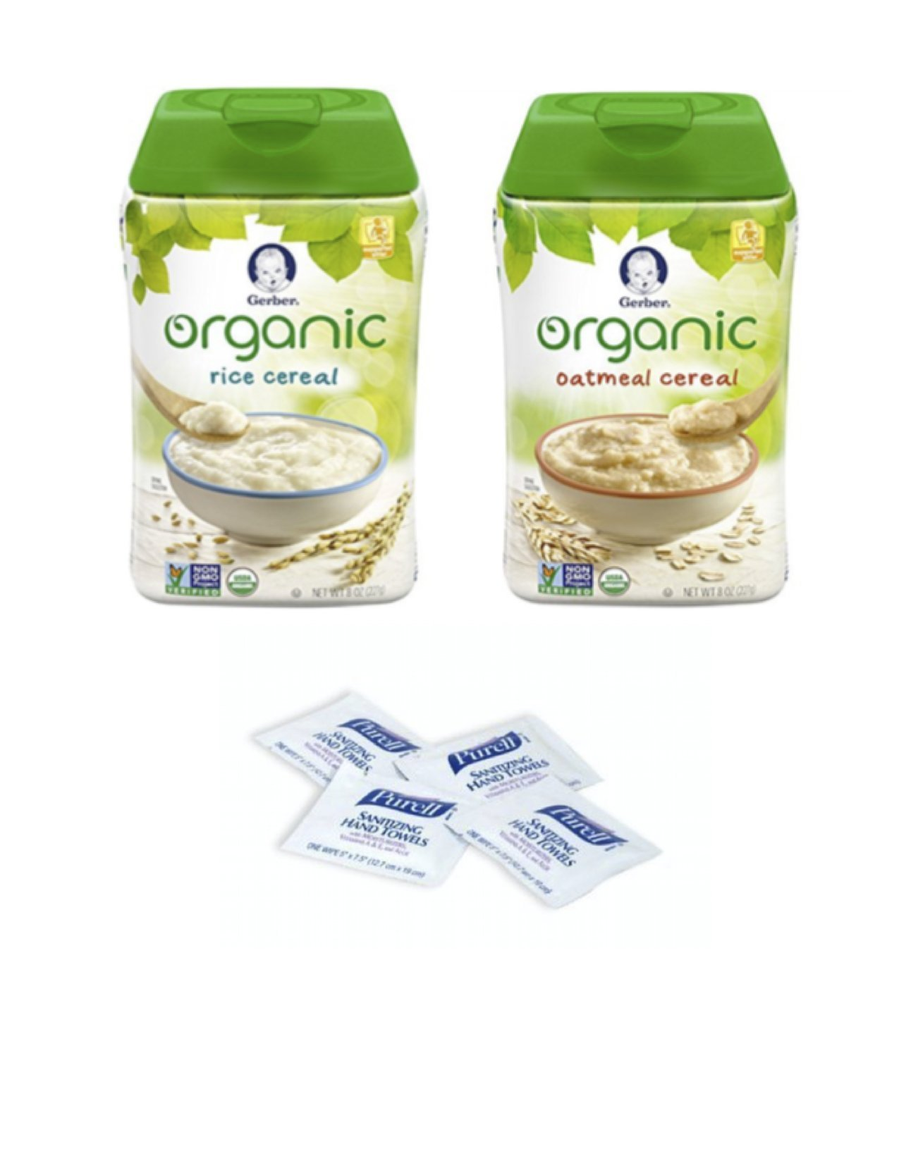 Gerber Baby Cereal Organic Pack- Organic Oatmeal Cereal and Organic Rice Cereal 8oz. with bonus of 4 Purell Hand Sanitizing Wipes by Gerber