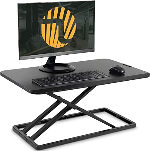 Standing Desk Converter with Height Adjustable FEZIBO Ultra Slim Sit to Stand Desk Riser 29 inches Black, Lightweight Ergonomic Tabletop for Laptop