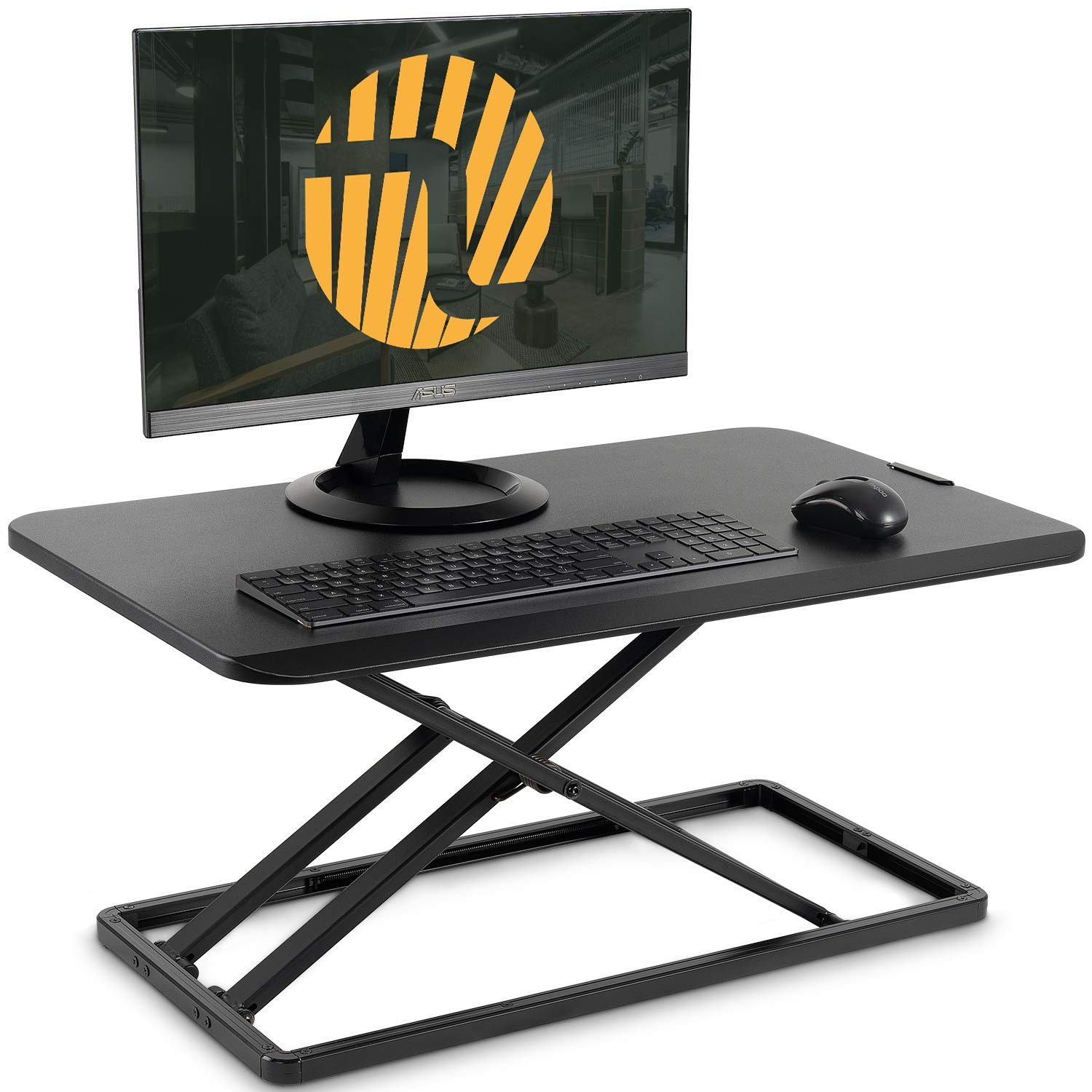 Standing Desk Converter with Height Adjustable - FEZIBO Ultra Slim Sit to Stand Desk Riser 29 inches Black, Lightweight Ergonomic Tabletop for Laptop