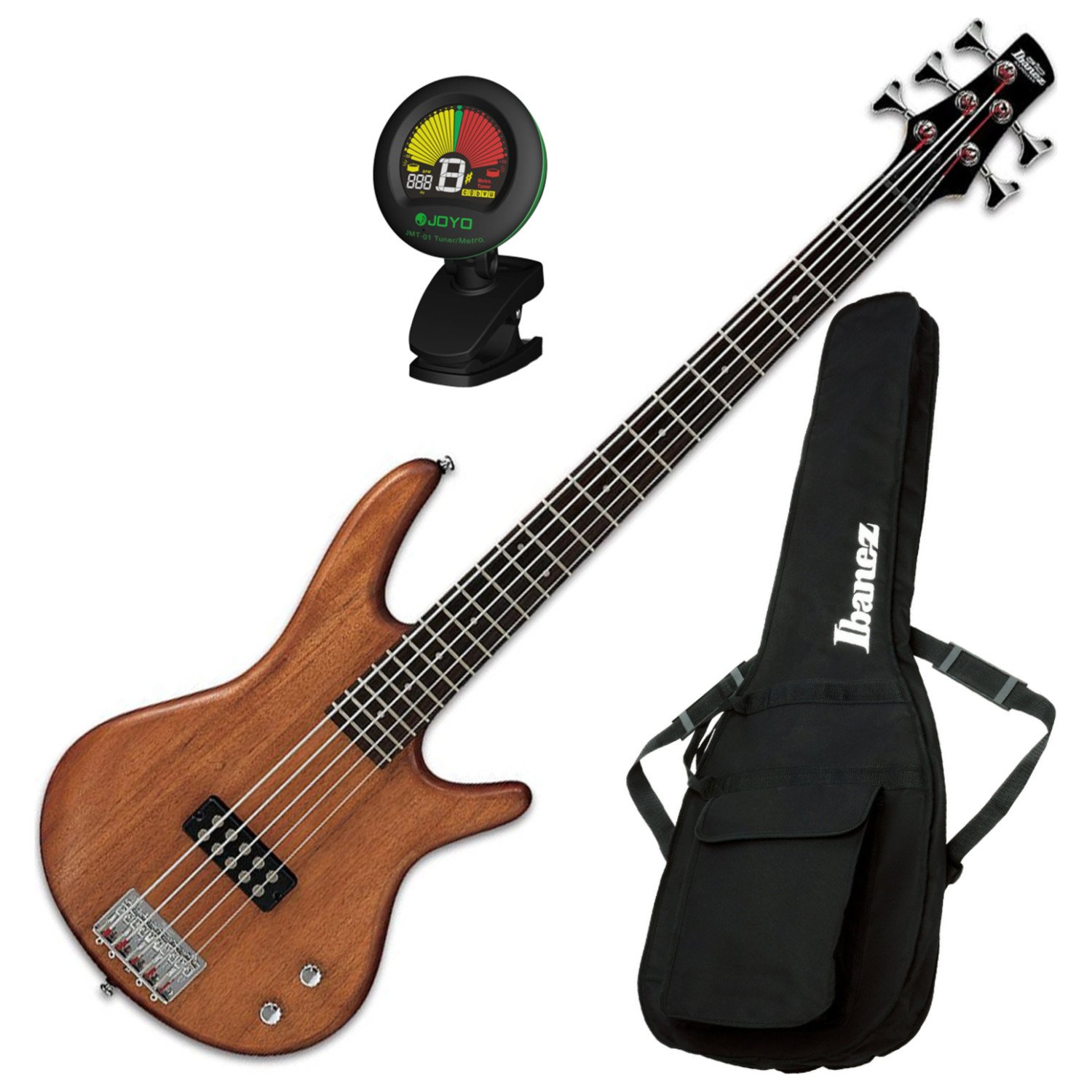 Ibanez GSR105EXMOL 5-String Electric Bass (Natural Oil) w/ Gig Bag and Tuner