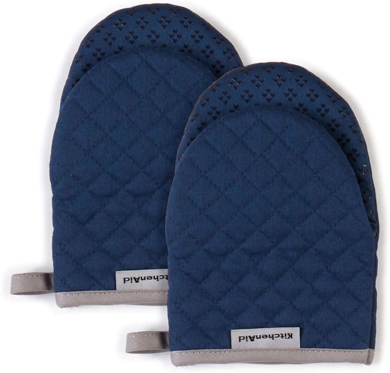 KitchenAid Asteroid Mini Cotton Oven Mitts with Silicone Grip, Set of 2, Blue