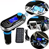 Multipoint FM Transmitter, AGPtek Bluetooth MP3 Player Hands-free Car Kit Charger, Double USB Ports 3.5mm jacks for iPhone 6 plus 6 5 5S iPad Samsung Galaxy S5 Android Cell Phones