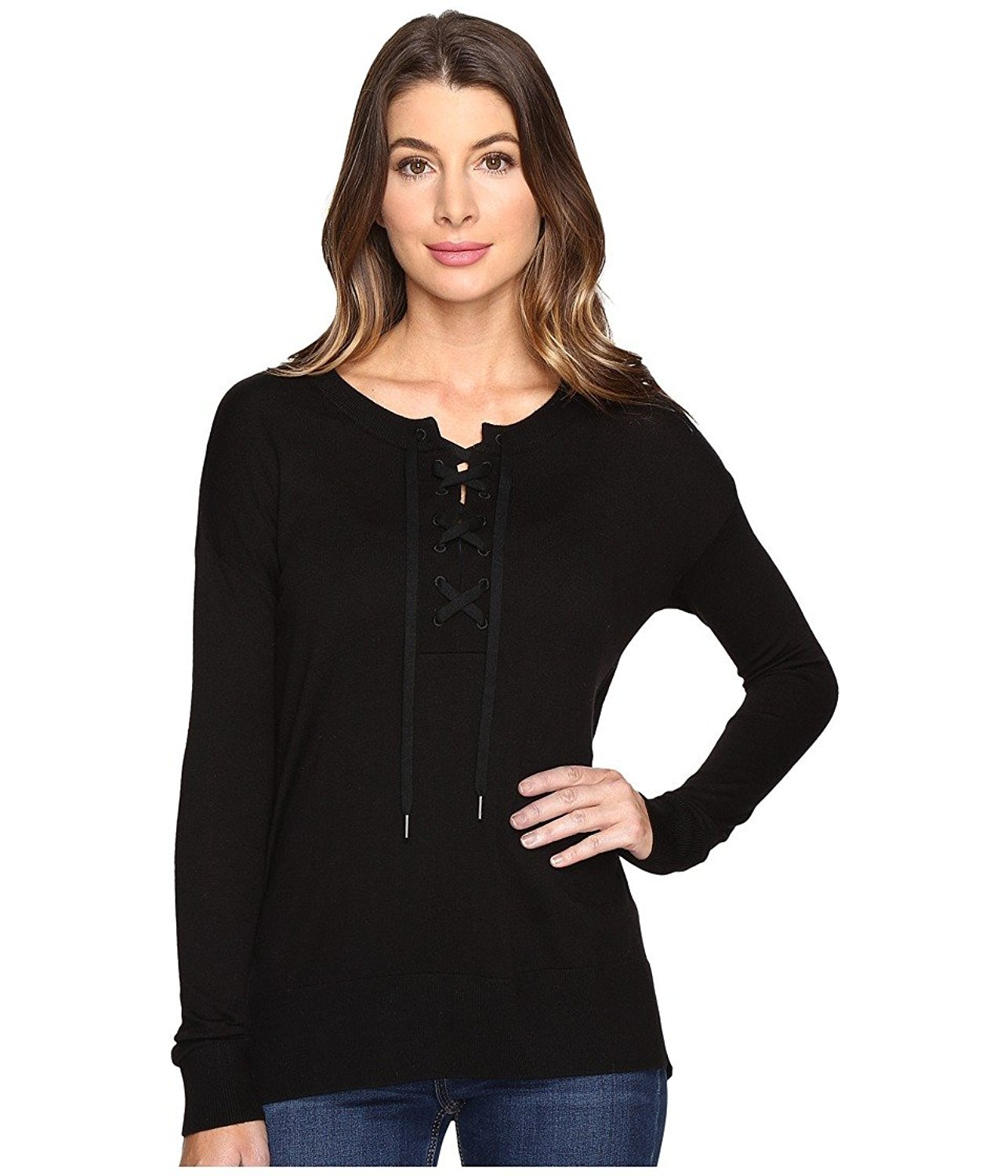 Splendid Women's Lakewood Henley Pullover Black X-Small