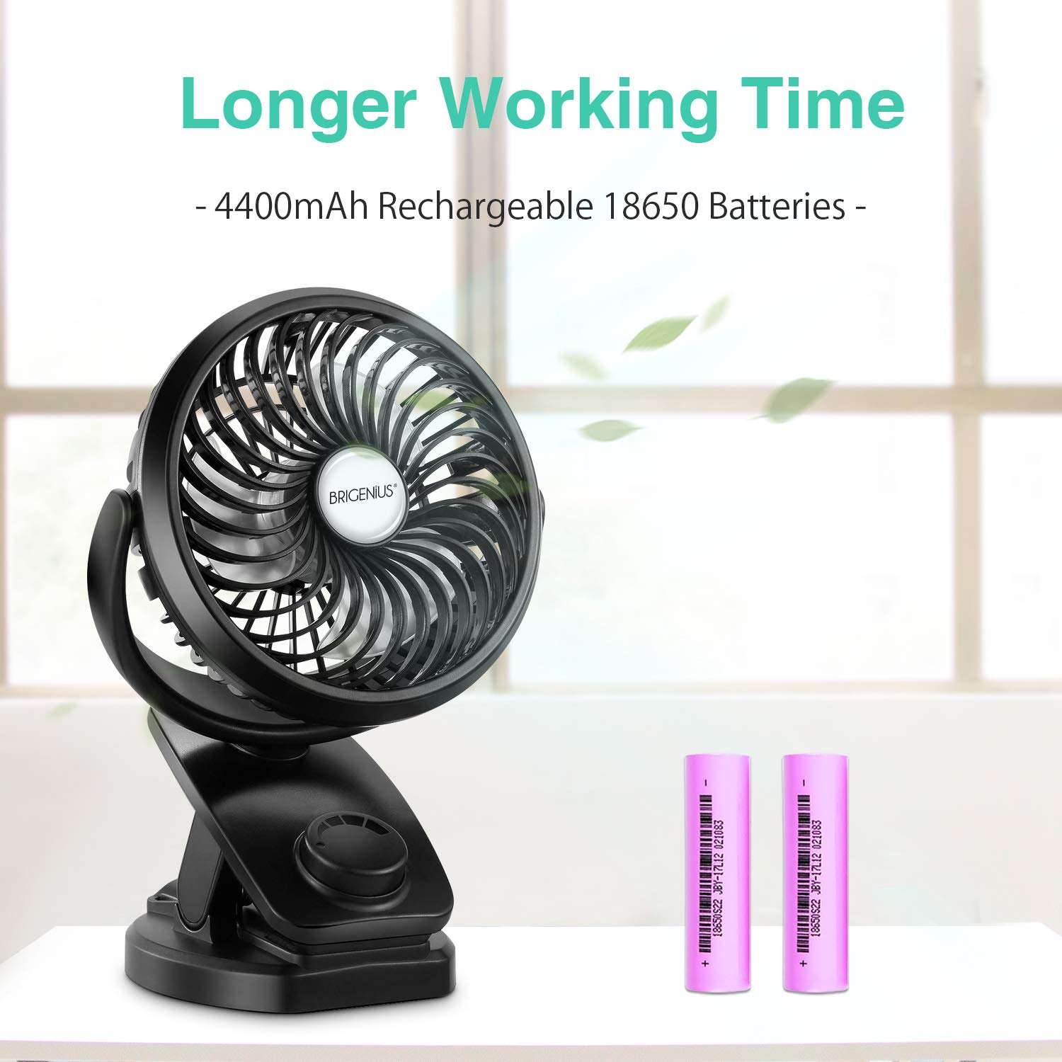 Battery Operated Clip on Stroller Fan - Portable Mini Desk Fan with Rechargeable 4400mAh Battery&USB Cable, USB Powered Clip Fan for Baby Stroller Office Outdoor Travel by BRIGENIUS (Image #2)