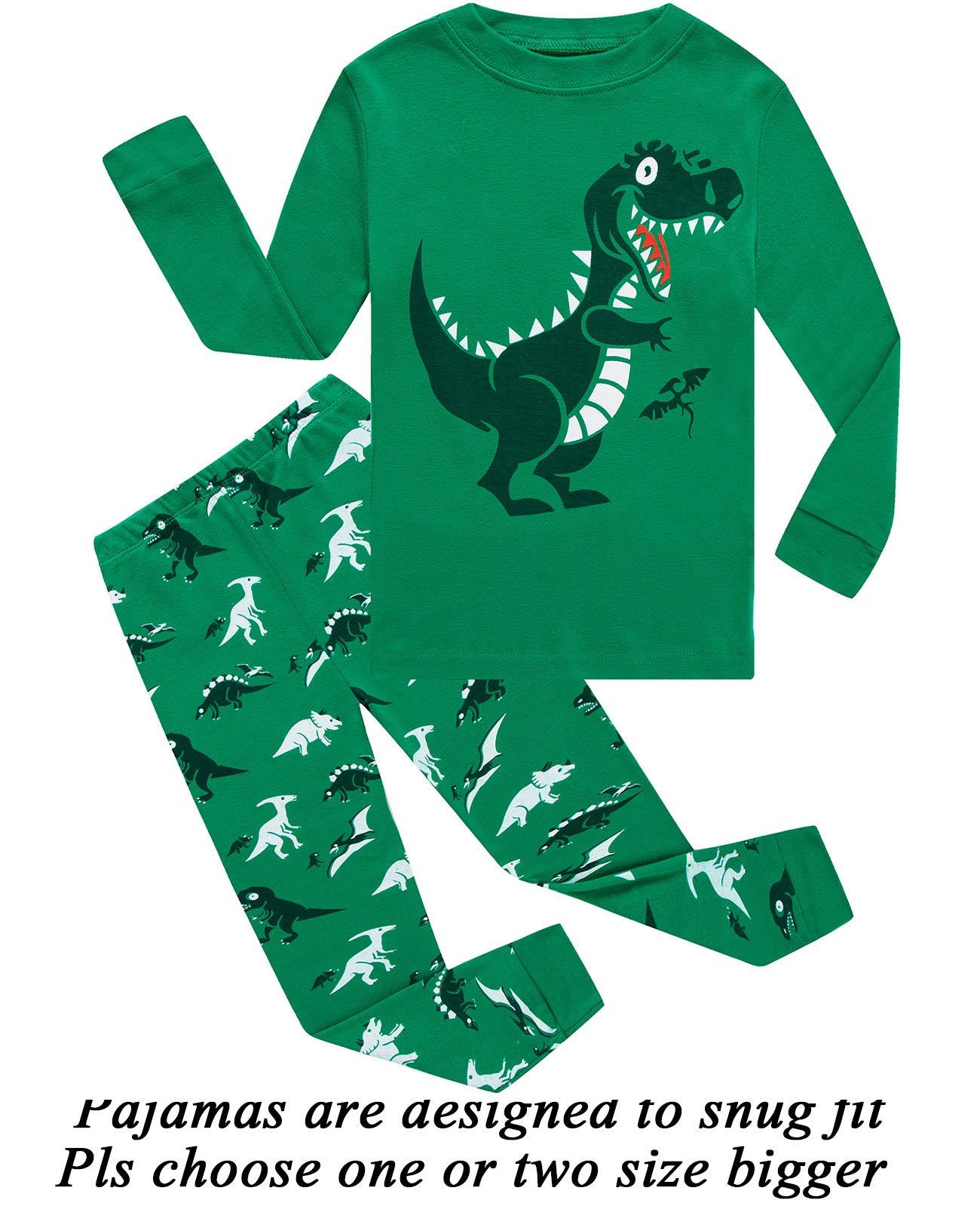little bety 100 cotton boys dinosaur pajamas long sleeve toddler pjs kids sleepwear 24m