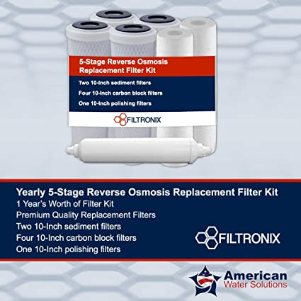 5 stage reverse osmosis replacement filters 100 gpd filtronix yearly 5stage reverse osmosis replacement filter kit 10quot amazoncom