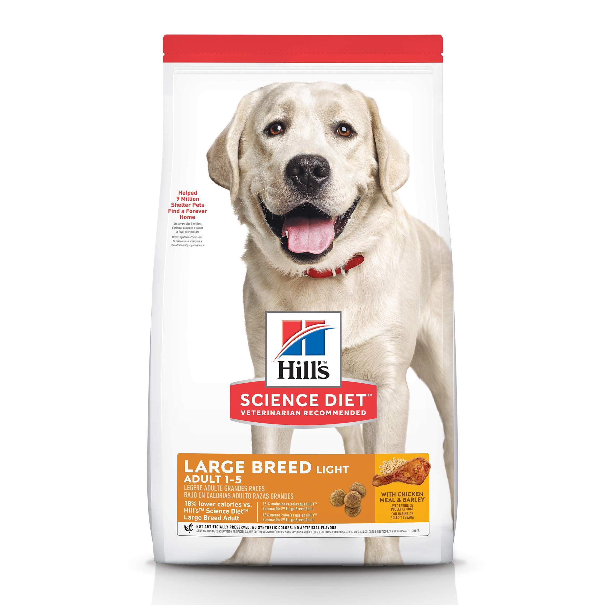Hill's Science Diet Dry Dog Food, Adult, Large Breeds, Light, Chicken Meal & Barley Recipe for Healthy Weight & Weight Management, 30 lb Bag