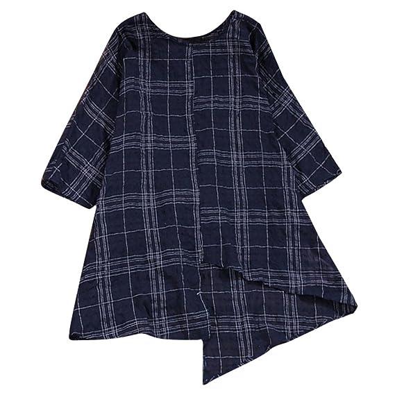 EUzeo_Mujer Camiseta Manga Larga Enrejado Labor de Retazos Blusa Casual Suelto Pullover Tops Otoño Invierno Ropa Shirt Blusa Camisas Moda Mujer Fiesta Top: ...
