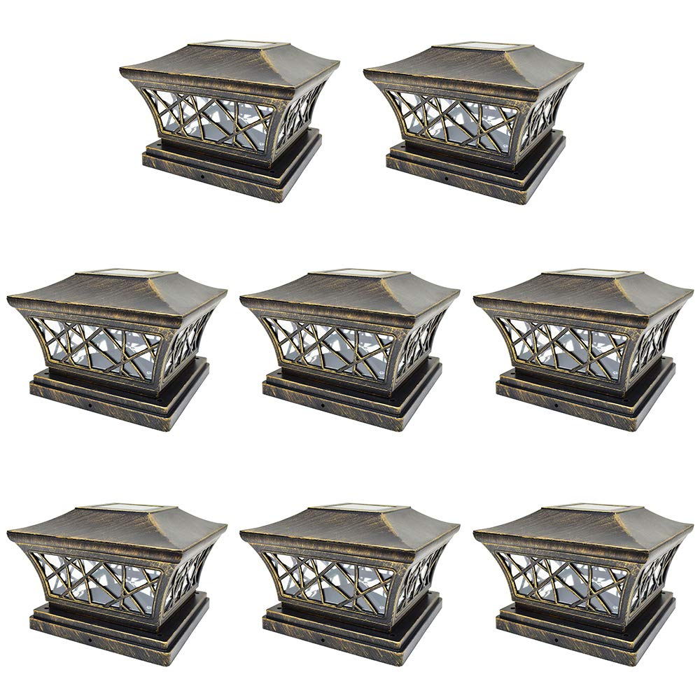 iGlow 8 Pack Vintage Bronze 6 x 6 Solar Post Light SMD LED Deck Cap Square Fence Outdoor Garden Landscape PVC Vinyl Wood