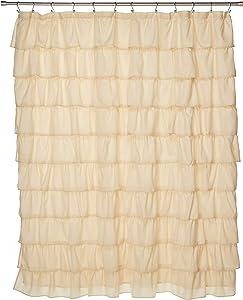 Spring Design Flamenco Ruffle Shower Curtain (Ivory)