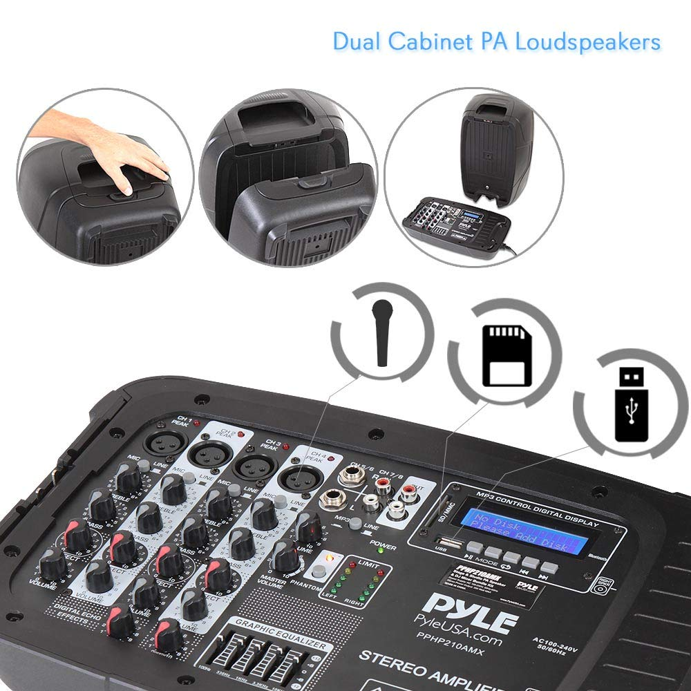 PA Speaker DJ Mixer Bundle - Portable Wireless Bluetooth Sound System with USB SD  XLR 1/4'' RCA Inputs, LED Lights - Dual Speaker, Mixer, Microphone, Stand, Cable - Home / Outdoor - Pyle PPHP210AMX by Pyle (Image #3)