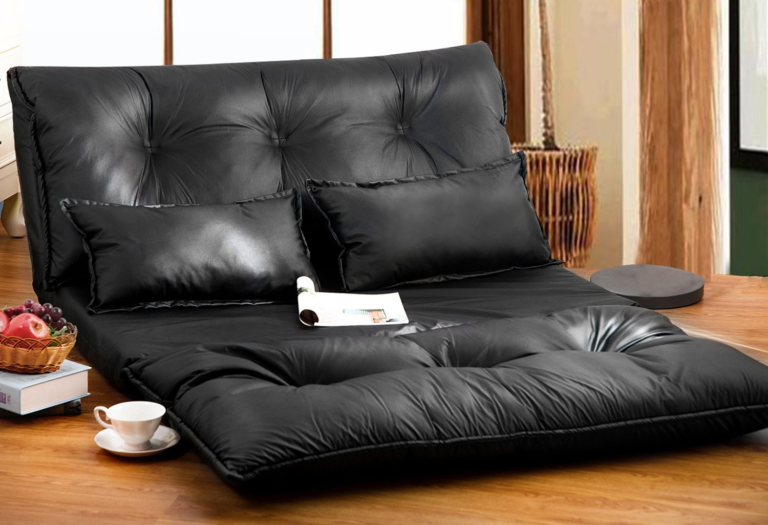 Amazon.com: Merax Pu Leather Foldable Modern Leisure Sofa Bed Video Gaming  Sofa With Two Pillows, Black: Home U0026 Kitchen