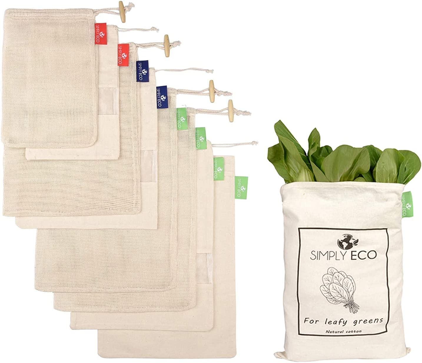 8 pack Natural Cotton Reusable Mesh & Muslin Produce Bags with Drawstring for Veggies, Fruits & Bulk Food Storage