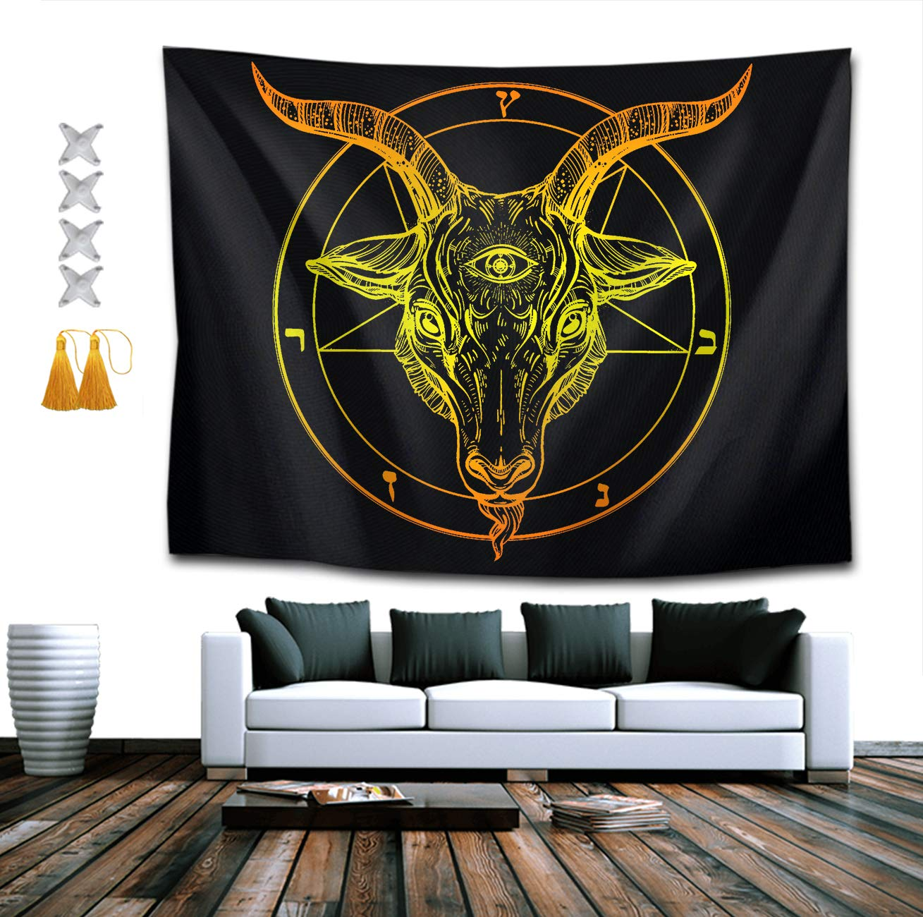 BOYOKO ME Bohemian Wall Hanging Hippie Hippy Tapestry,Baphomet 3D Print Indian Room Decor Bedding Tapestry, Mysterious Tapestry - 60 x 90 inches, Beach Towels