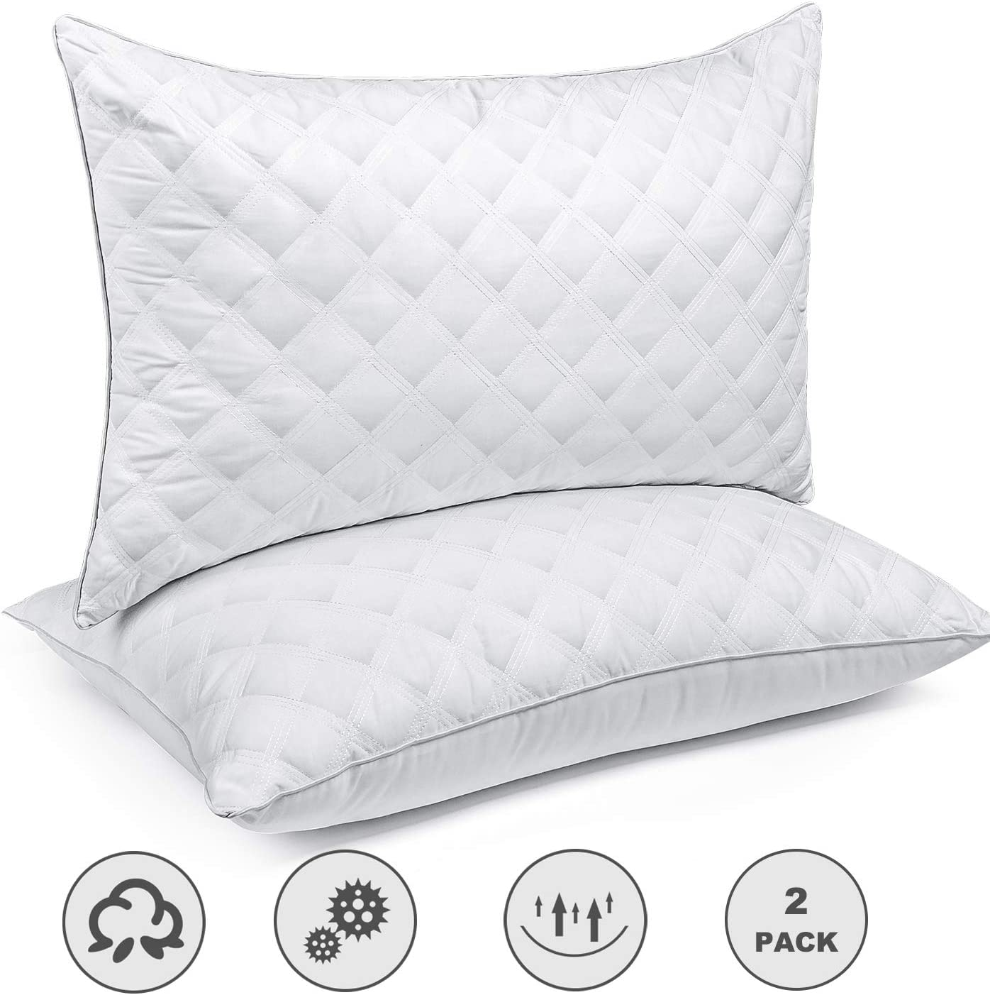 Bed Pillows for Sleeping(2-Pack) Luxury Hotel Collection Gel Pillow Good for Side and Back Sleeper & Hypoallergenic-Standard Size